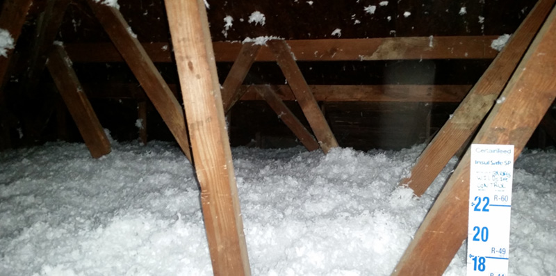 Beautiful while insulation in the attic