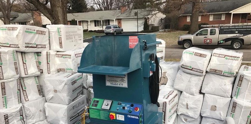 machine used to blow in insulation  at the  Attic Cleanup And Sanitation page